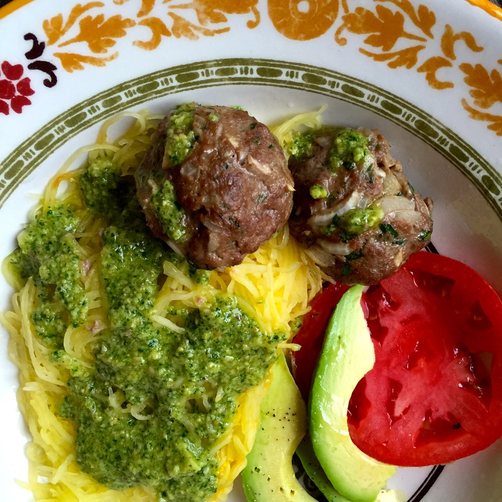 Spaghetti Squash with Garlic Meatballs and Cilantro Pesto