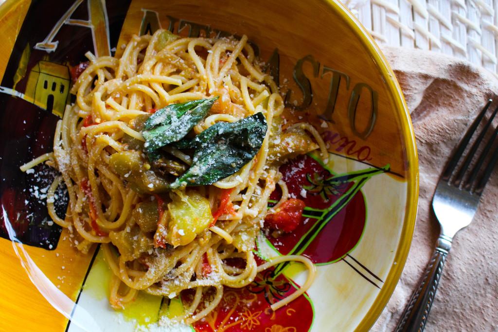 spaghettiwitheggplantricotta