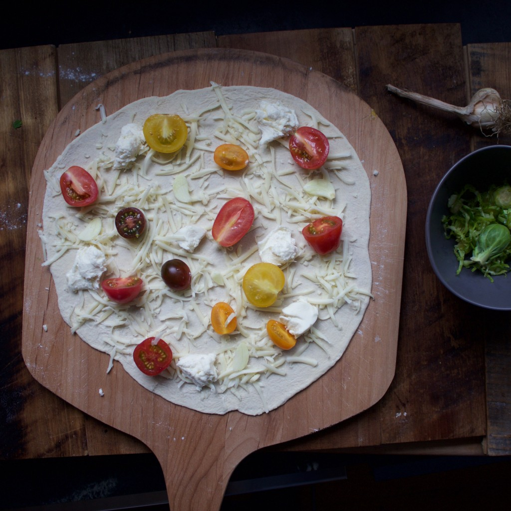 Tomato and Brussels Sprout Pizza