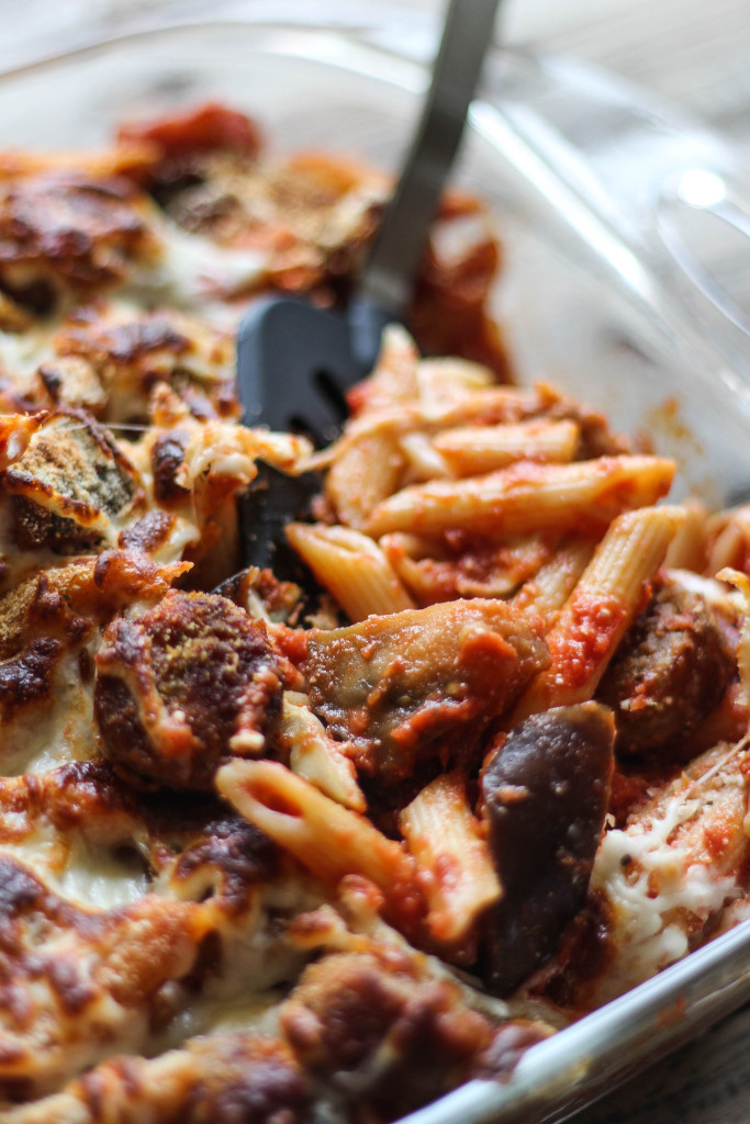 Italian flavors baked with cheesy goodness: Baked Penne with Eggplant