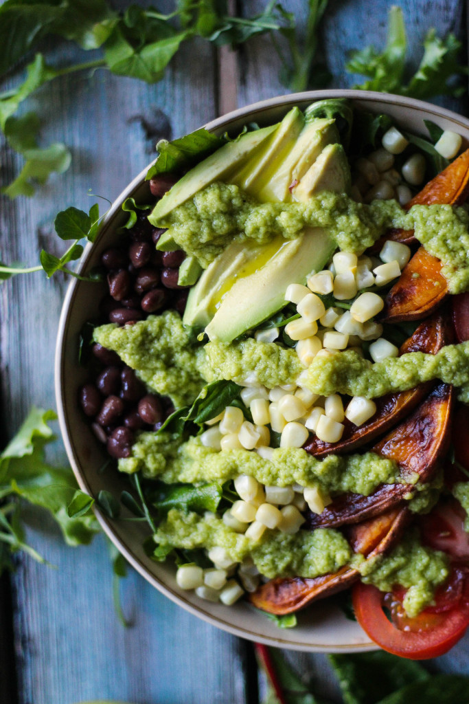 Rainbow Salad with Garlic Avocado Dressing