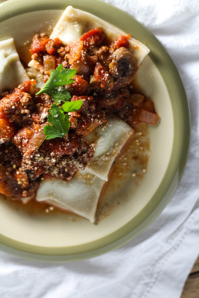 Slow Cooker Beef Bolognese with Eggplant and Mushrooms
