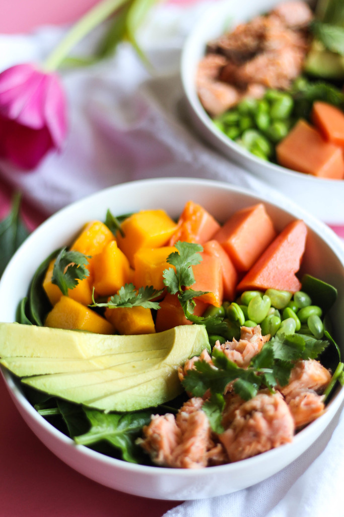 Tropical Spinach Salad with Roasted Salmon