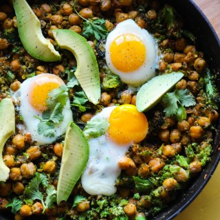 Skillet Chickpeas with Broccoli Rice