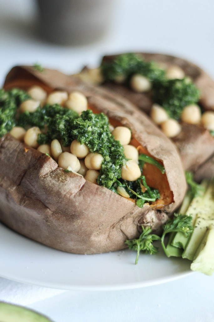 Chimichurri Chickpea-Stuffed Sweet Potatoes