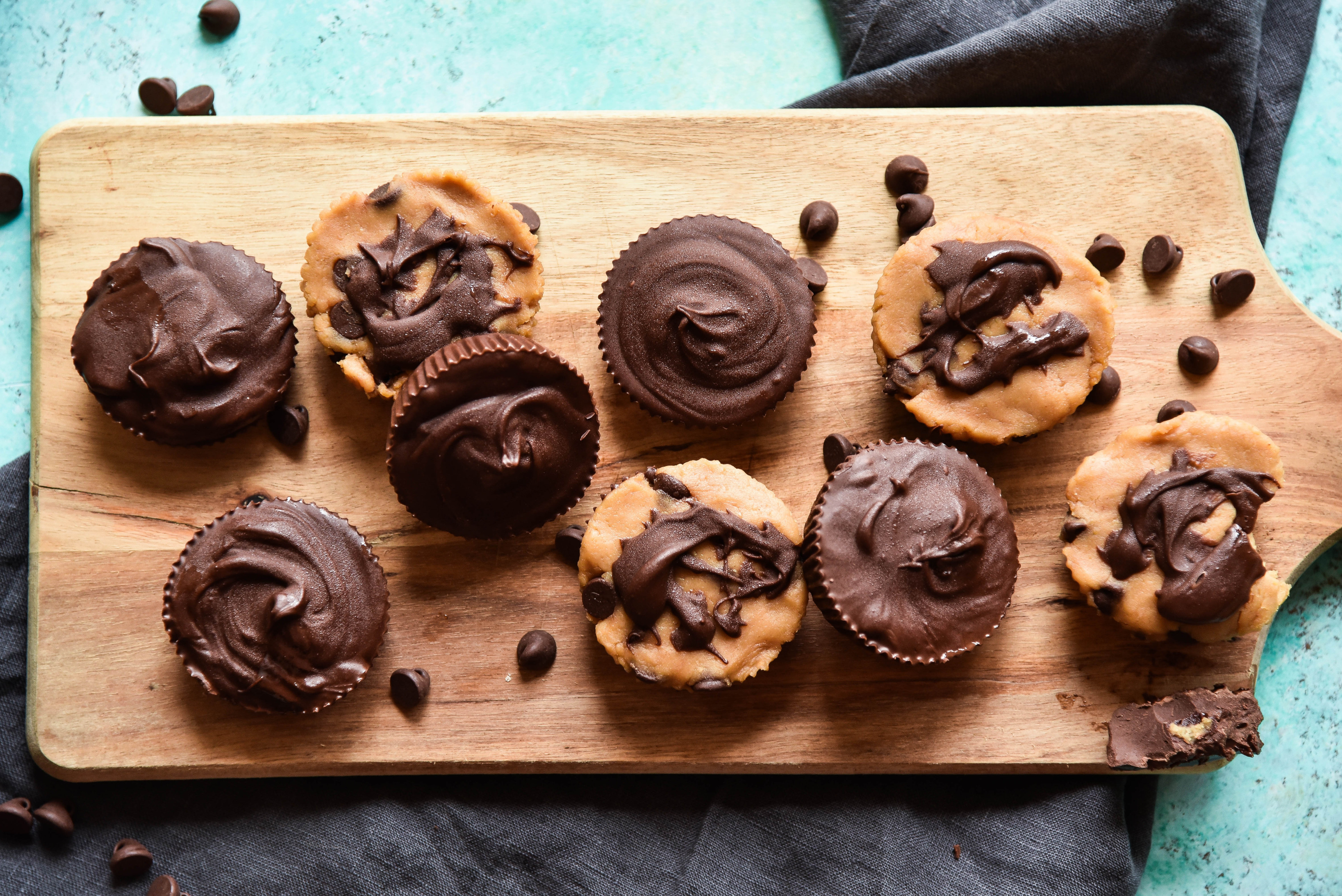 Inside-Out Chocolate Chip Cookie Dough Cups
